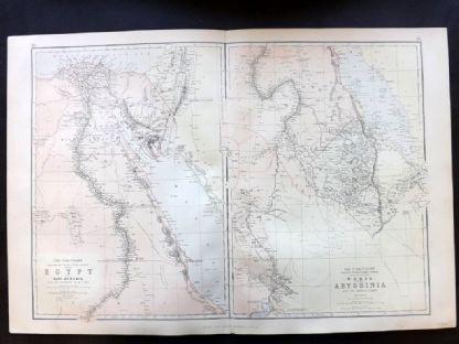 Blackie & Weller 1882 Antique Map. Egypt, Nubia & Abyssinia.